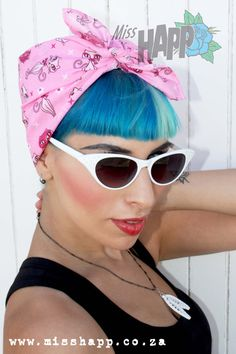 Retro 50s Kitty pastel head scarf in pink by MissHapp on Etsy, $12.00