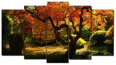#Cuadro #paisaje jardín japonés estilo #zen, lienzo 5 piezas,150x80cm