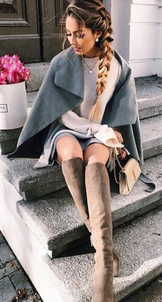 #winter #fashion //  Grey Cape // Cream Knit // Brown Boots // Grey Skirt