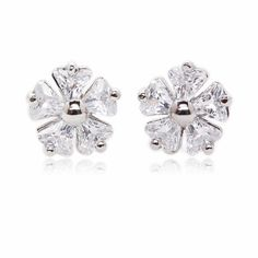 Wild Rose Shape Pave Setting Triangle Cubic Zirconia Sterling Silver Plated Stud Earrings