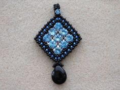 Allison Pendant Tutorial  Here is a super sparkly, geometric pendant that is sure to catch the eye! It uses Swarovski chaton montees for extra sparkle (Swarovski #17704). It is created using cubic right angle weave (CRAW) for a nice dimensional look. The tutorial has step by step photos and instructions to guide you through every step to make the pendant, including detailed instructions for CRAW. If you are already familiar with CRAW you can glance over this part and move on to the next…