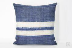 "Indigo Pillow Case with Vintage Hmong Hemp Batik, Boho Hmong Throw Pillow, Natural Linen Handmade Bohemian Cushion Cover 20"" x 20"" / 418 by OrientalBazar on Etsy https://www.etsy.com/listing/277531170/indigo-pillow-case-with-vintage-hmong"