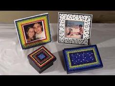 DIY: Caixas e porta-retratos com miçangas - Boxes and picture frames - C...