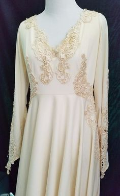 Vintage Ivory Satin & Lace Wedding Gown with Long Chapel Train Edwardian Style 6 | eBay
