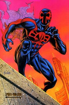 Spider-Man 2099 (Miguel O'Hara) (Earth-928) | Marvel Masterpieces Trading Cards (1992) | art by Joe Jusko