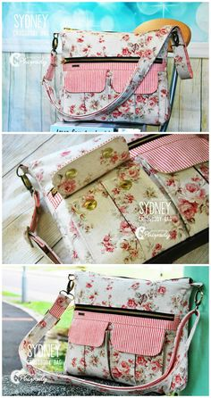 Cross Body Bag Sewing Pattern.  The perfect balance of form and function, this large everyday crossbody bag is ideal for daily use. It features multiple storage options, including two pleated cargo pockets, a large zippered pocket, a back slip pocket and a zippered pocket inside. A zip top opening keeps belongings secure and a wide crossbody strap ensures carrying comfort. (Photos Chera Pipody)