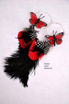 Butterfly Earrings/Butterfly Jewelry Earrings/Ruby Red Free-Spirit Monarch Butterfly Feather Earrings