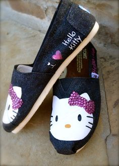 Hello Kitty and Crystals Custom TOMS Shoes