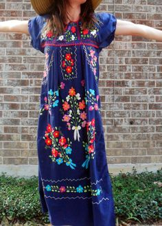 1960s vintage boho NAVY FLORAL mexican embroidered by ahippyheart, $44.00