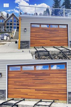 """""""We make lakes look great! (say that 5 times really fast). This CHI Cedar Plank door is the newest scenic stop on Falcon Lake's South Shore. Great customer. Great door. Simply stunning."""" Outfit your boathouse with a garage door that looks like real wood, but provides the durability of steel. Shown: Planks in Cedar Accents Woodtones // via @reimeroverheaddoors on IG Unique Garage Doors, Faux Wood Garage Door, Garage Door Windows, Modern Garage, Wood Doors, Windows And Doors, Exterior Colors, Exterior Design, Indoor Outdoor Living"""