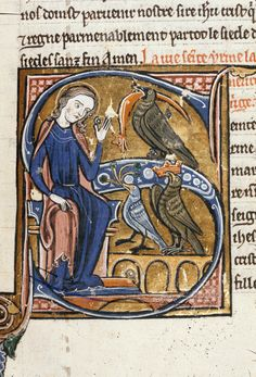 Detail of an historiated initial 'S'(einte) of Irene with a dove, a raven, and an eagle. Wauchier de Denain, Lives of the Saints. France, Central (Paris); 2nd quarter of the 13th century