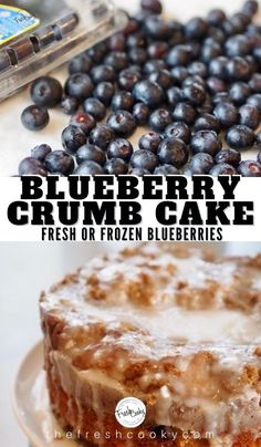 Blueberry Crumble Cake, Blueberry Desserts, Just Desserts, Delicious Desserts, Yummy Food, Tasty, Cupcake Recipes, My Recipes, Sweet Recipes