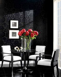 Wow everyone who enters your home with this stunning black damask wallpaper by Stacy Garcia. See the collection at AmericanBlinds.com