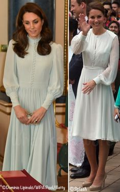 – Charles' Anniversary as Prince of Wales – Kate in bespoke Soft Blue Dress by a private dressmaker for Prince of Wales Buckingham Palace Reception. For many, Kate's dress was reminiscent of the 'Sabitri' by Beulah London. – What Kate Wore Looks Kate Middleton, Estilo Kate Middleton, Duchess Kate, Duchess Of Cambridge, Moda Mormon, Beulah London, Pale Blue Dresses, Kate Dress, Kate And Meghan