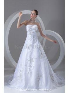 Organza Strapless Neckline Chapel Train A-line Embroidered Wedding Dress