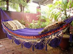 Violet Hammock, Hand Woven Natural Cotton with Special Fringe hand-woven-natural-cotton via ETSY Double Hammock, Hammock Swing, Hammock Ideas, Backyard Hammock, Hammock Balcony, Backyard Camping, Camping Life, My Pool, Hampi