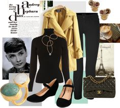 """At the Cafe in Paris Audrey Hepburn Style"" by flossmint ❤ liked on Polyvore"