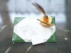 Learn to make a  miniature 1:12 scale desk pad and ink blotter with Artisan Sarah-Jane Waller