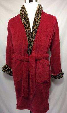 TJ Lawford Bath Robe Womens Red Cheetah Print Plush Warm Polyester Size S Small #TJLawford #Robes #cheetah #plush