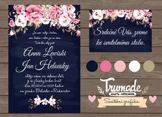 Svatební sada Flower garden - tmavě modrá Stylová a originální svatební grafika. Koznámení je možné vyrobit pozvánku ke svatebnímu stolu, jmenovky, svatební menu, čísla stolů a spoustu jiných doplňků podle Vašeho přání. Tato sada vznikla na přání. Pokud máte svou vysněnou představu, neváhejte a kontaktujte mě. Určitě něco spolu vytvoříme :-) Ke svatební ...