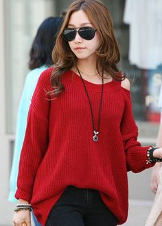 Casual Round Neck Cutout Design Red Pullover Sweaters