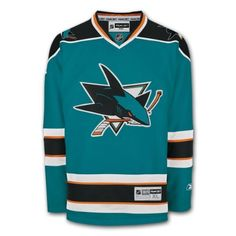 San Jose Sharks Reebok Premier Youth Replica Home NHL Hockey Jersey Size S/M by Reebok. $85.00. The Premier Youth Replica Jersey is engineered and constructed to duplicate the look of on-ice team designs. Front body consists of a comfortable polyester two-way stretch pique. Solid mesh inserts provide ventilation in underarm and back regions (where applicable). Performance polyester engineered interlock or striped knit collar, with NHL shield logo patch sewn to bottom of fr...