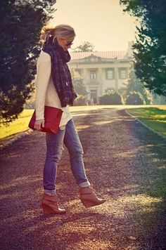 Stylish Jeans With Sweater And Large Scarf
