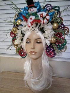 headpiece ugly Christmas party hat santa Claus red poinsettia lights up candy cane for sale at pamzylove.com snow man