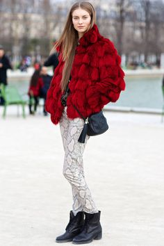 This vibrant red (and segmented!) coat is totally awesome.