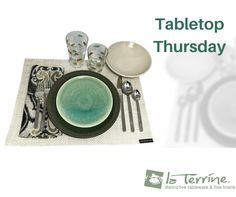 """Inspiration Alert: One of our brides, Jane Weiss shared her Table Top created from items she registered with at la Terrine. #TableTopThursday  Dinnerware - Jars """"Tourron"""" collection  Glassware - Made in Italy exclusive for la Terrine  Flatware - Simon Pearce """"Orleans Collection""""  Placemat - Chilewich  Napkin - Kim Seybert Lifestyle"""