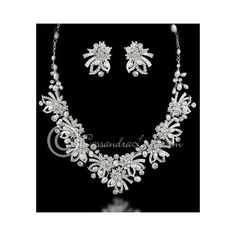 Wedding Necklace Set of Jeweled Ribbons Pearls ❤ liked on Polyvore featuring jewelry, necklaces, white pearl necklace set, white pearl necklace, ribbon necklaces, flower necklaces and set necklace