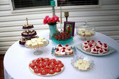 Party goodies!! (Lemon cake, strawberry yogurt cake, zebra PB cookies, chocolate cupcakes and oreo bites!)