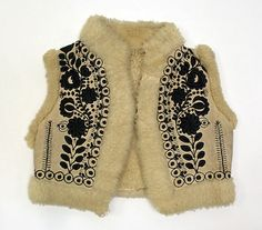 Embroidered sheepskin vest, Eastern European, late 19th century.