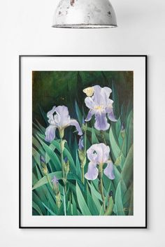 ★ State your love for nature decorating your living room or bedroom with this vibrant garden iris giclée print. Also a unique gift for nature lovers! ★  #natureartprints #botanicalprints #natureart
