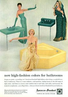 """High fashion"" colors from American Standard retro ad Retro Advertising, Vintage Advertisements, Vintage Ads, Vintage Images, Vintage Decor, Retro Ads, 1950s Ads, 1960s, Vintage Homes"
