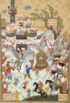 Aziz and Zulaykha enter the capital of Egypt and the Egyptians come out to greet them,folio from a Haft Awrang (Seven Thrones) by Jami ,1556-1565