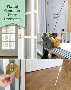 Fixing Common Door Problems - Door rubs or doesn't close properly? If so, this tutorial covers all the issues and explains how to fix them. Home Improvement Projects, Home Projects, Big Doors, Home Repairs, Dream Bathrooms, Baseboards, Diy Tutorial, Storage, Car Tracking