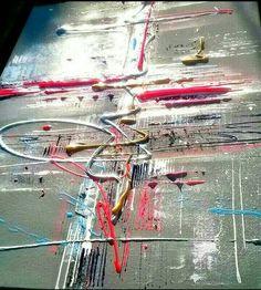 Art abstrait  Peinture moderne  Relief argent