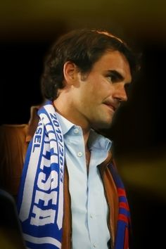 Roger Federer at the Europa League semifinal between FC Basel and Chelsea FC