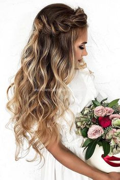 33 wedding hairstyles with falling hair - love hair . - 33 wedding hairstyles with falling hair – love hair 33 wedding hairstyles - Wedding Hair Down, Wedding Hairstyles For Long Hair, Wedding Hair And Makeup, Wedding Updo, Down Hairstyles, Trendy Hairstyles, Bridesmaid Hairstyles, Bridal Updo, Wedding Beach