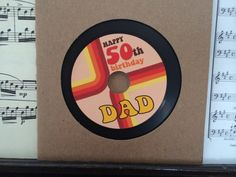 Retro Birthday Card: Vinyl styled blank CD with label and sleeve