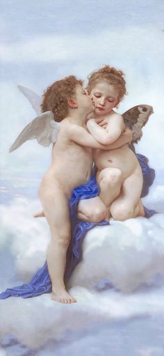 Poster 20 x 30 cm: The first kiss by William Adolphe Bouguereau art print, new art poster William Adolphe Bouguereau, Murals Your Way, Religion, Oil Painting Reproductions, Thing 1, First Kiss, Gustav Klimt, Renaissance Art, Western Art