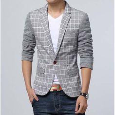 #Grey check pattern men's cotton #suit single button fastening