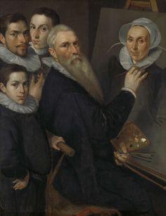 Jacob Willemsz. Delff (I) | Self Portrait of the Painter with his Family, Jacob Willemsz. Delff (I), 1594 | Zelfportret van de schilder Jacob Willemsz. Delff (I) met zijn gezin. De kunstenaar schildert een portret van zijn vrouw Maria Joachimsdr Nagel. Achter hem staan zijn drie zonen, (de latere schilders) Cornelis Delff, Rochus Delff en (de graveur) Willem Delff.
