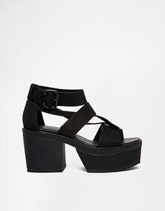 Enlarge Vagabond Avery Black Leather Strap Heeled Sandals