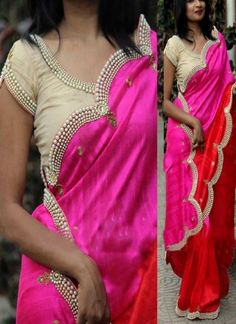 Shaded Red Pink Stone Work Diamond Work Silk Georgette Raw Silk Designer Saree http://www.angelnx.com/