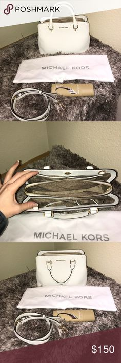 Michael Kors Purse Authentic medium Selma Michael Kors white purse with long shoulder strap, silk storage bag, and stain repellent spray. Michael Kors Bags