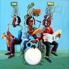 """Trójka na 6 kontynentach,"" 2014 Monsengo Shula Zdjęcie © Eric Simon Congo, Fondation Cartier, Jazz Music, Continents, Deco, Movies, Movie Posters, Sculptures, Fine Art Paintings"