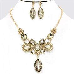 Chunky Bib Brown Crystal Gold Chain Necklace Earring Set Fashion Costume Jewelry