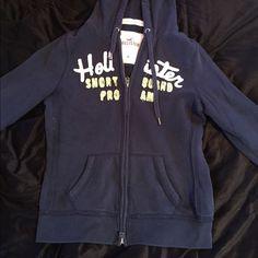 Hollister Sweatshirt Navy blue, zip-up, Hollister sweatshirt. Hollister Tops Sweatshirts & Hoodies